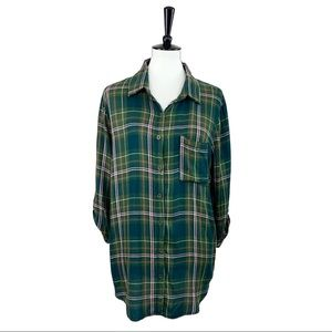 Faded Glory • Green Plaid Button Down Shirt • L
